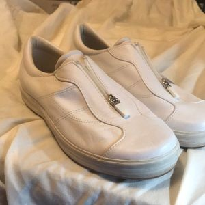 Women's zip up leather tennis shoes.  Jed's.